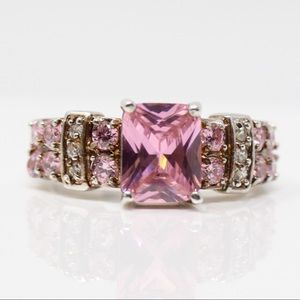 Jewelry - Sterling Silver Pink & White CZ Cocktail Ring 9.75